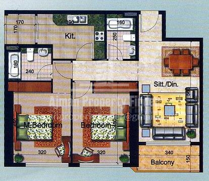 2 BHK in Ajman Pearl Towers - Floor Plan